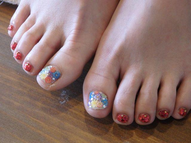 Flower Foot Nail_a0239065_17340117.jpg