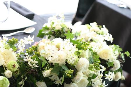 高砂装花 白と緑の花で ラピュタ様へ_a0042928_12185291.jpg