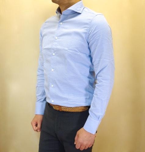 CIT LUXURY(チット・ラグジュアリー)メッシュ織柄サックスブルーシャツ(GPAUL)_c0118375_01474531.jpg