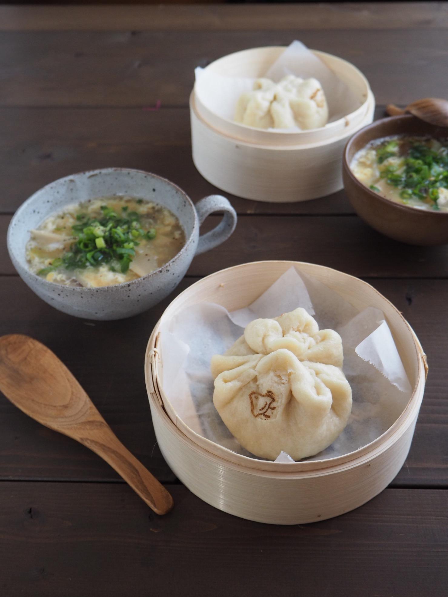 手作り肉まん&春キャベツと筍の中華スープで朝ごぱん_c0270834_13241119.jpg