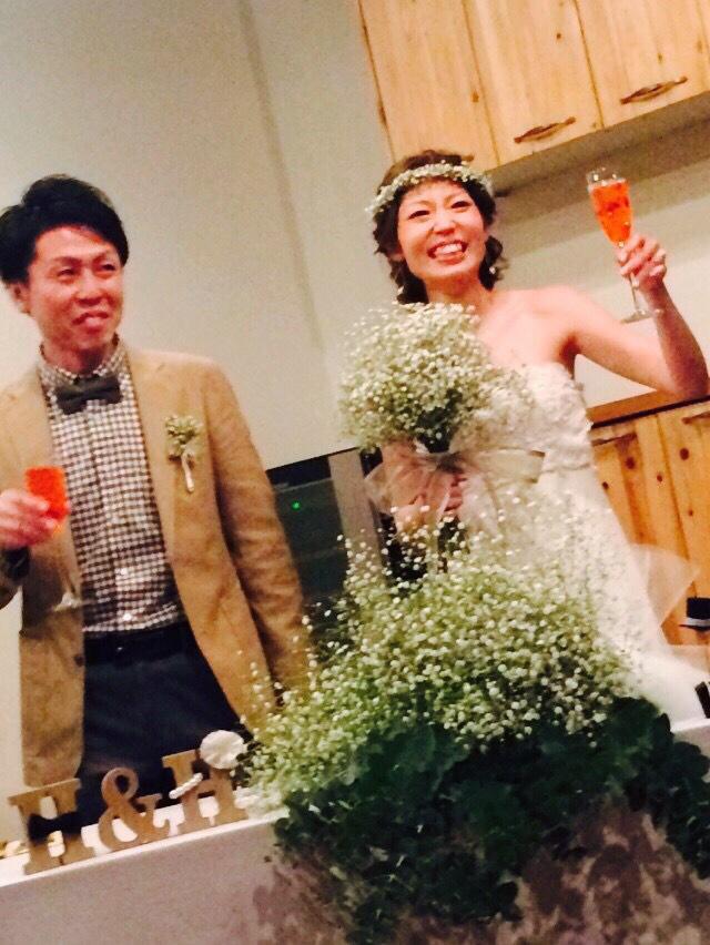 かすみ草クラッチブーケと花冠と@メゾンプルミエールアットロビンズ様 花嫁様からいただいたお写真 フラワースタジオフローラフローラ*東京目黒不動前_a0115684_23593731.jpg