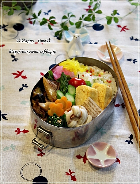牛肉・茄子と筍の甘辛炒め弁当とハナミズキ♪_f0348032_18042687.jpg
