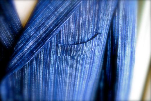 4月22日 金曜日 藍染め刺し子二重織り雨絣_a0154045_1527478.jpg