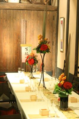 博多百年蔵 会場装花(個性的赤系かっこよく)_e0149863_21562919.jpg