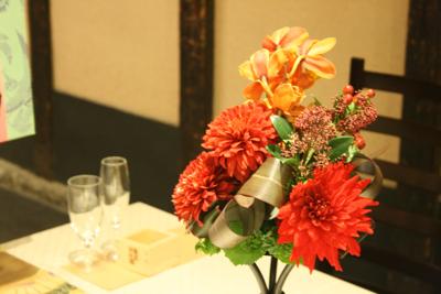 博多百年蔵 会場装花(個性的赤系かっこよく)_e0149863_215769.jpg