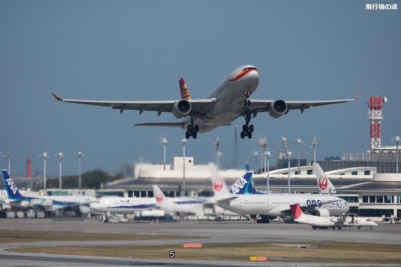 陽炎薄くも雲は無し A330の離陸 香港航空(HX)_b0313338_21332027.jpg