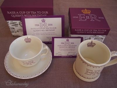 Burleighのエリザベス女王90歳記念マグとカップ&ソーサー_f0238789_18472151.jpg