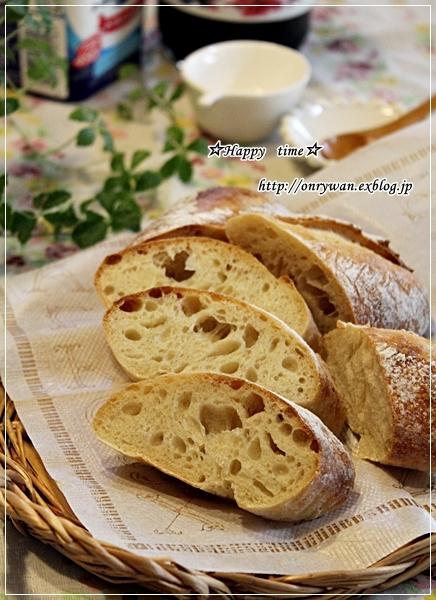 りんご酵母バゲで朝ごパンとすずらん♪_f0348032_18014075.jpg