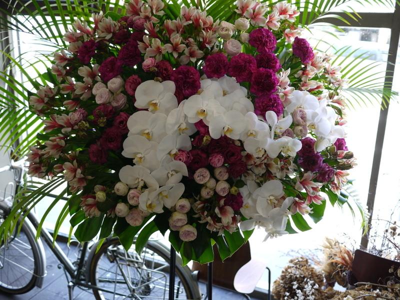 南3西1の成吉思汗のお店のオープンに、スタンド花とアレンジメント。_b0171193_02050385.jpg