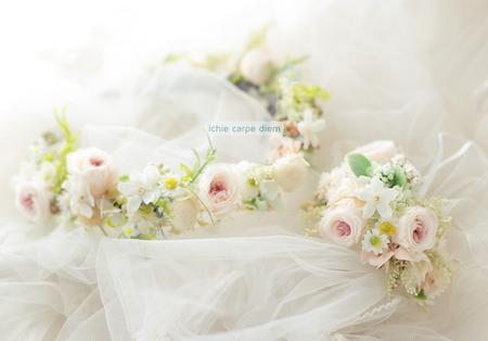 花冠と手首の花、リストブーケ 京都まで_a0042928_041240.jpg
