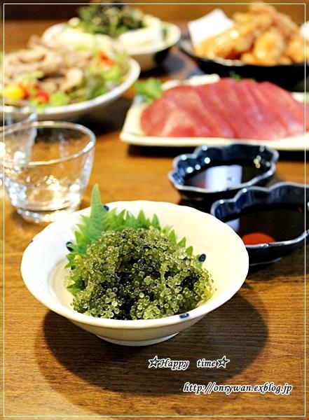 茄子の肉巻き弁当と海ぶどうで呑み比べ♪_f0348032_18593108.jpg
