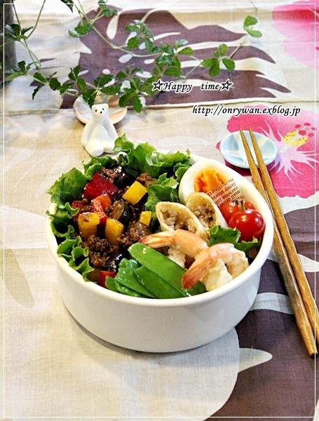 茄子とパプリカで肉味噌炒め弁当と破竹と常備菜♪_f0348032_17594289.jpg