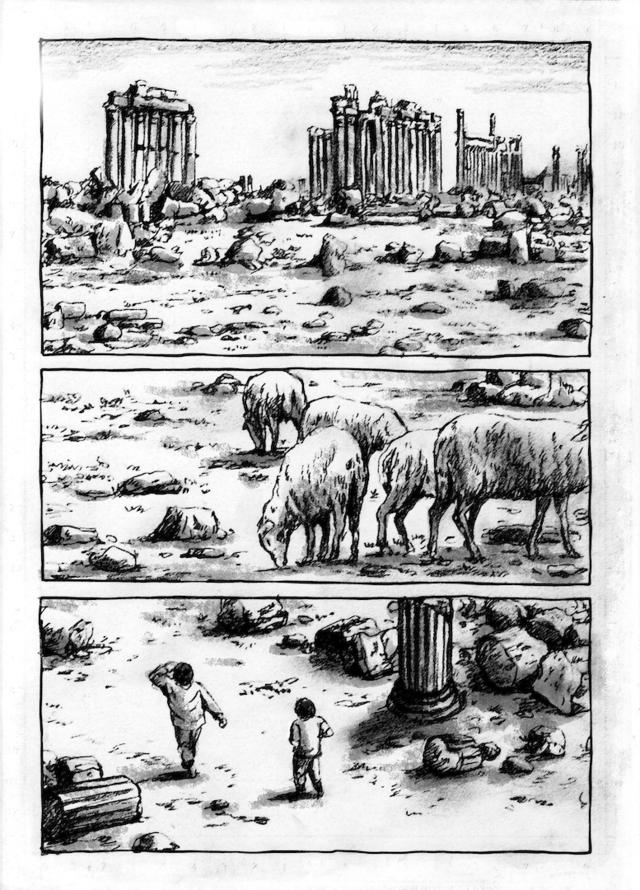 シリアのパルミラ遺跡を舞台にした読み切り漫画を描きました_a0087957_0583023.jpg