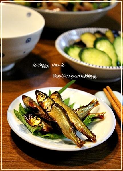破竹とスナップエンドウで肉巻き弁当と小鮎の甘露煮♪_f0348032_18464033.jpg