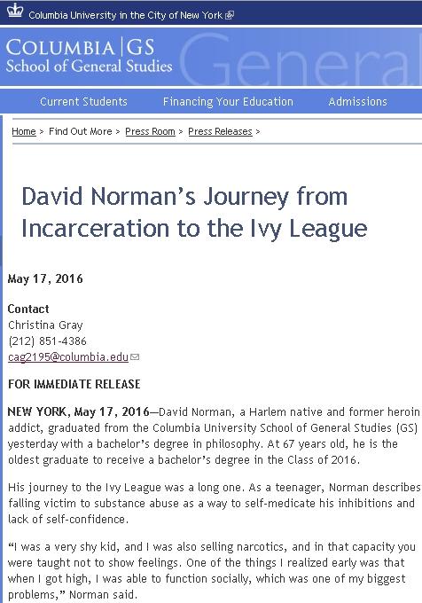 先週、67歳でNYのコロンビア大学を卒業したデビッド・ノーマン(David Norman)さんの感動ストーリー_b0007805_21413919.jpg