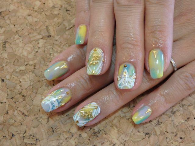 Summer Marble Nail_a0239065_13531103.jpg
