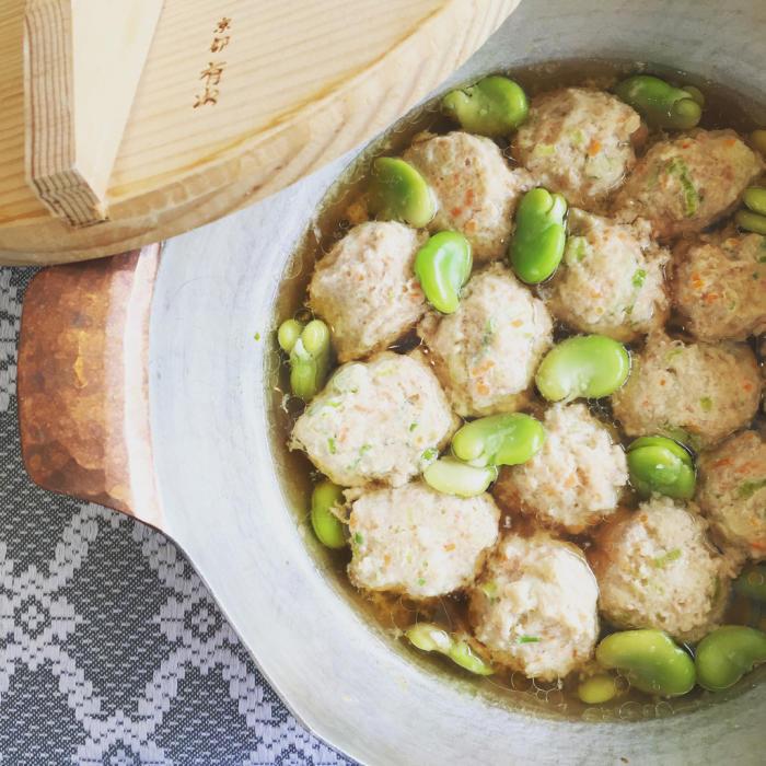 鶏つくねと空豆の白煮。_c0175022_23253367.jpg
