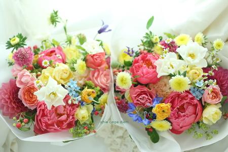 5月のブーケ クラシカ表参道様へ 芍薬コーラルピンク色をいれて_a0042928_2322471.jpg
