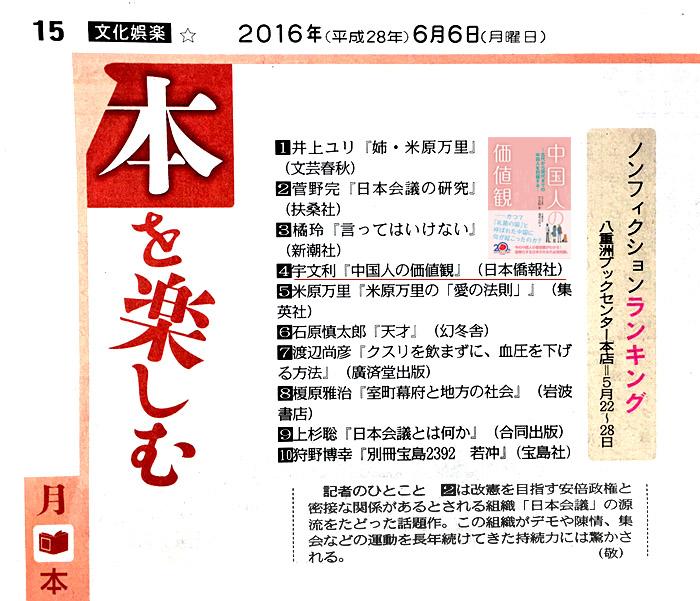東京新聞「本を楽しむ」ページに、新刊『中国人の価値観』が掲載_d0027795_1221964.jpg