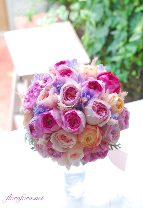 4種のバラ その芳香は幸せしるし イブピアチェ、イブミオラ、アンブリッジローズ… delivered to アニヴェルセルみなとみらい様 東京目黒不動前ふらわースタジオフローラフローラ_a0115684_19270623.jpg