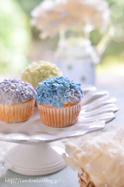 Lauraの紫陽花カップケーキ、そして庭の紫陽花 Laura\'s Homemade Hydrangea Cupcakes_d0025294_13172500.jpg