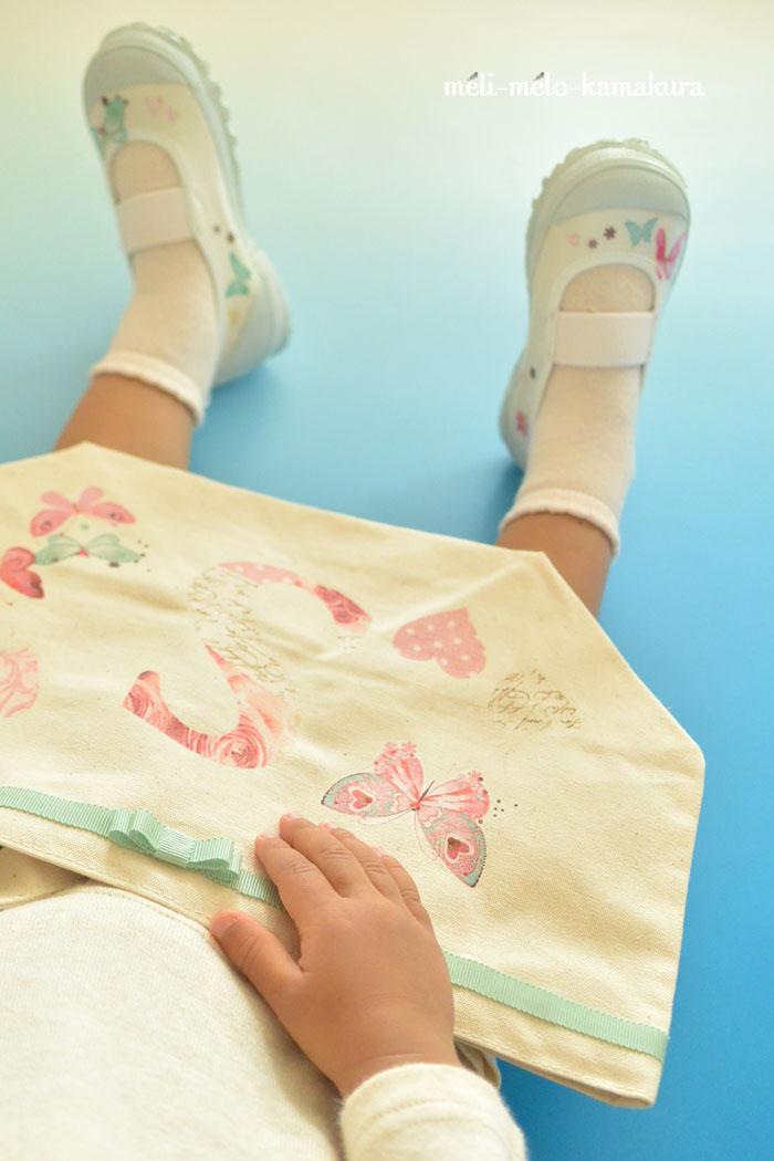 ◆デコパージュ*幼稚園準備に!ちょうちょの上履きとトートバッグ_f0251032_15213991.jpg