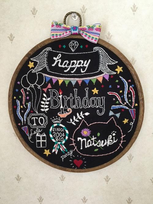 お誕生日飾りの刺繍とクッションの宿題_f0327104_2158140.jpg