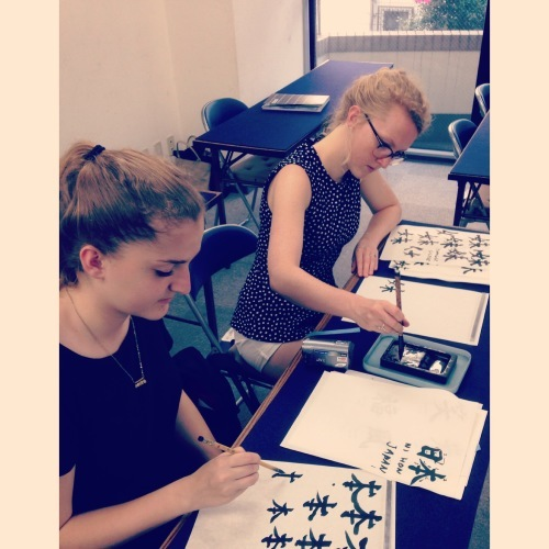 Sisters from Netherlands came to my Japanese Calligraphy SHODO studio in Tokyo_e0344055_12113397.jpg