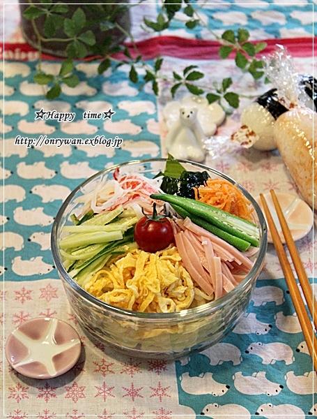 冷やし中華弁当とゼブラ柄風ラウンドパン♪_f0348032_18224859.jpg