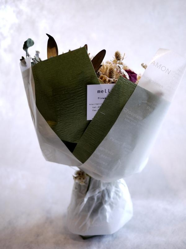 お誕生日に。ドライフラワーの花束。南5西3にお届け。_b0171193_18432733.jpg