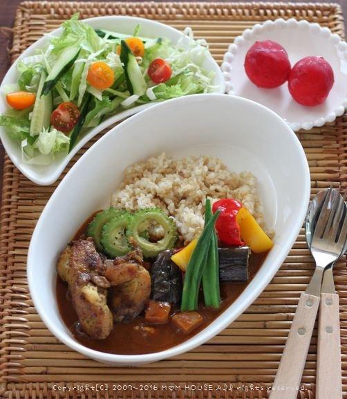 月曜鮭弁 ✿ 夏野菜チキンカレー♪_c0139375_1155286.jpg