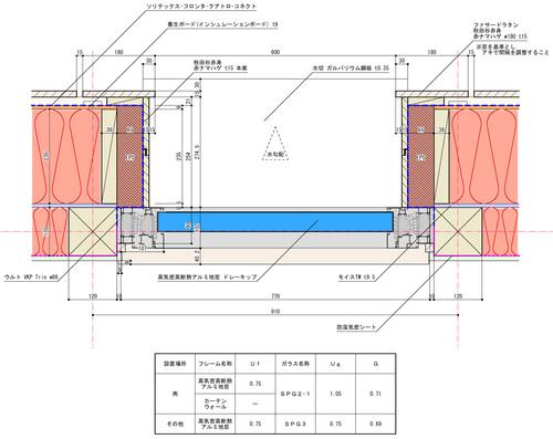 Q1モデル住宅:カーテンウォール地窓詳細図_e0054299_1013114.jpg