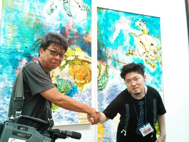 現展搬入 中京テレビさんが取材にいらっしゃいました_d0253466_1881135.jpg