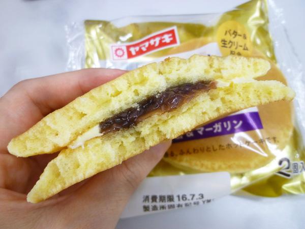 【菓子パン】ふわふわホットケーキサンド 小倉&マーガリン@ヤマザキ_c0152767_2101742.jpg