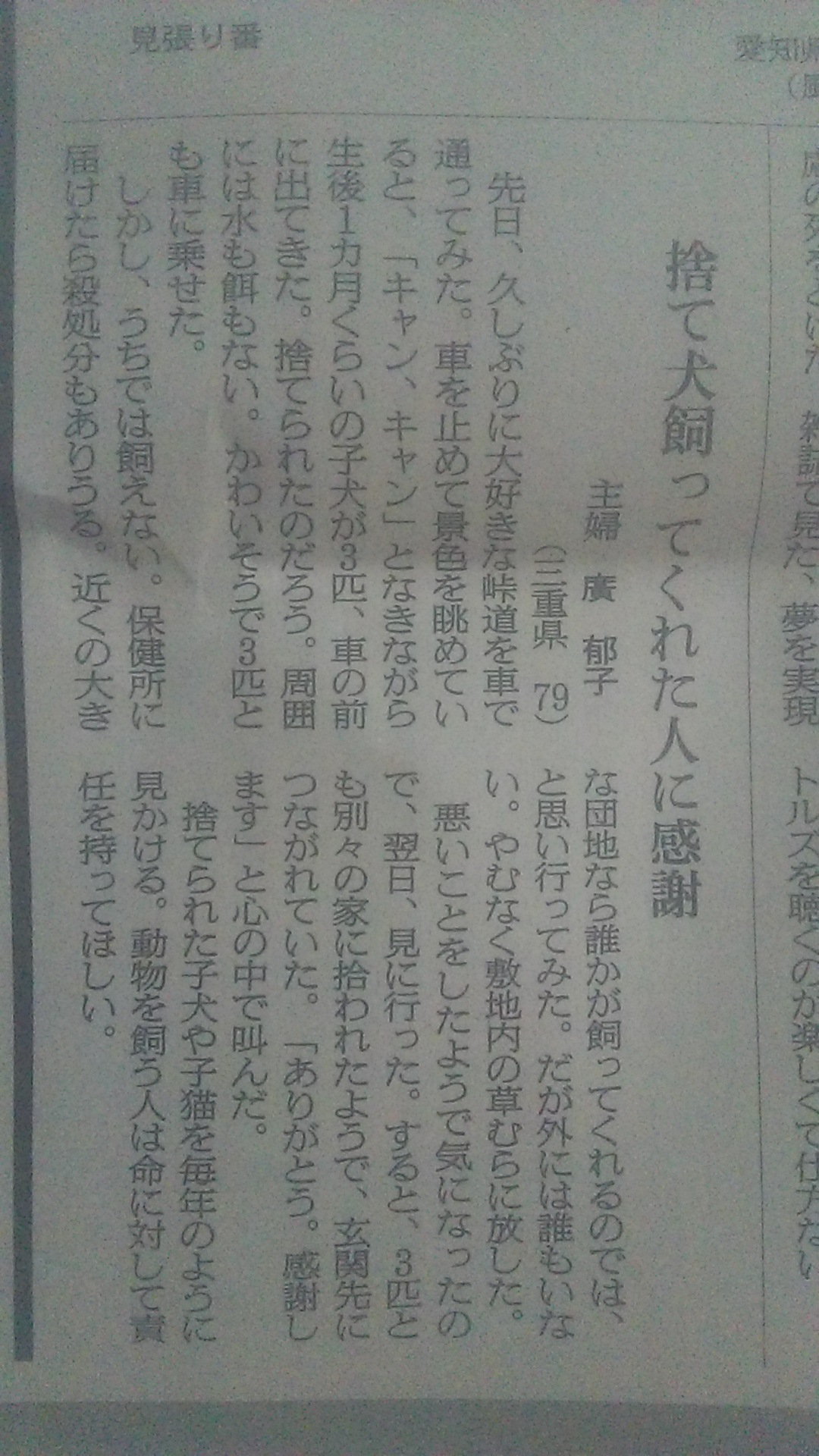 犬を捨てたとしか読めない、朝日の読者投稿_c0338136_15385593.jpg