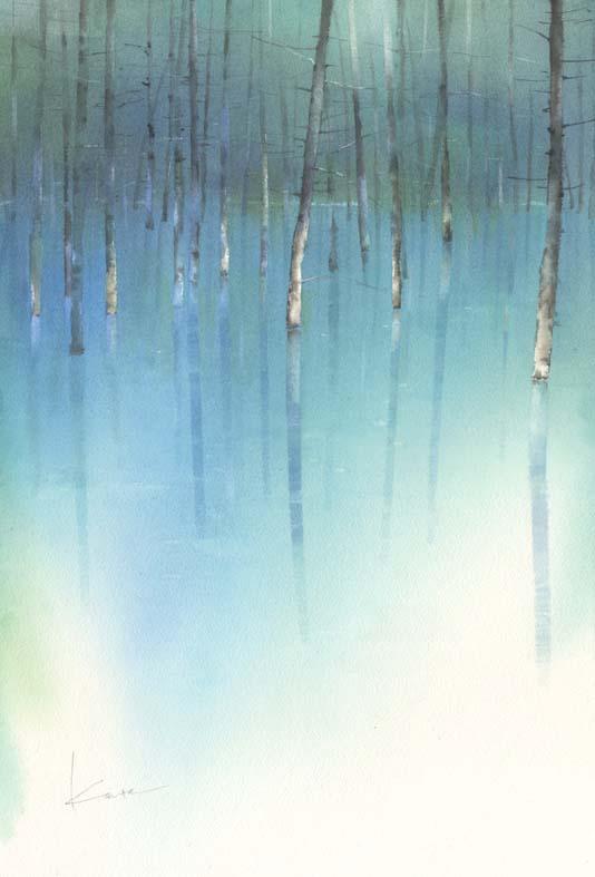 青い池 Blue Pond   水彩画_f0176370_1749381.jpg