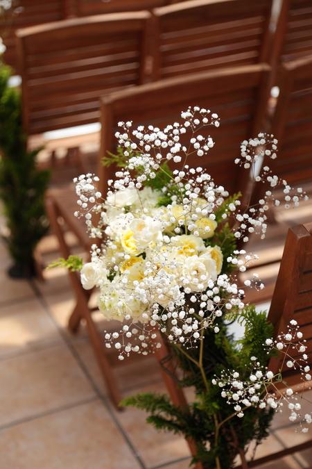 夏の装花 日比谷パレス様へ メイン高砂ソファの装花、レモンイエローで_a0042928_1314065.jpg