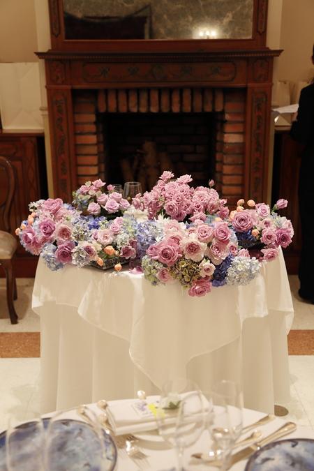 夏の装花 リストランテASO様へ 紫と青、バラと紫陽花で_a0042928_11224627.jpg
