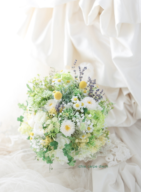プリザーブドブーケ 小笠原伯爵邸様へ 野の花風の3シェアブーケ、ラベンダーをいれて_a0042928_18124187.jpg