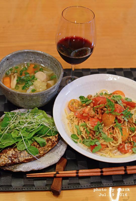 7月21日 木曜日 カレー風味の冷製トマトスパゲティ_b0288550_16562967.jpg