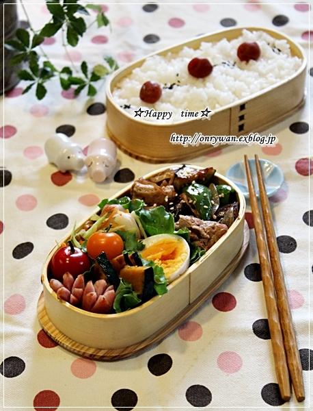 茄子ピーマン豚肉の生姜焼き弁当とわんぱくおにぎらず♪_f0348032_17261143.jpg