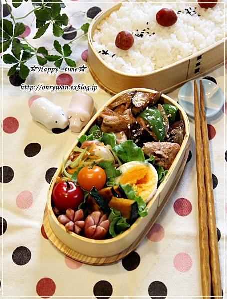 茄子ピーマン豚肉の生姜焼き弁当とわんぱくおにぎらず♪_f0348032_17262172.jpg