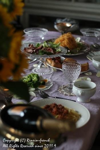 誕生日のテーブル。ひまわりの笑顔にのせて。_e0237680_19183021.jpg