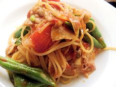 7/27本日パスタ:豚肉とインゲンのWトマトソース・スパゲティ_a0116684_1283779.jpg