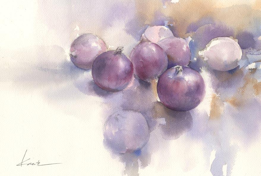 紫玉葱 水彩画_f0176370_9171765.jpg