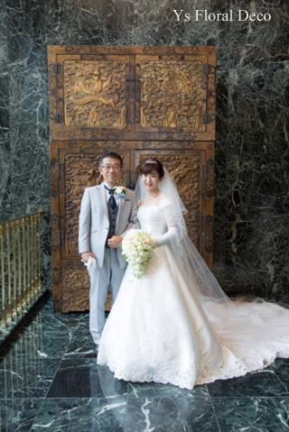 カップ咲のバラのキャスケードブーケ ホテル椿山荘さんへ_b0113510_15185318.jpg