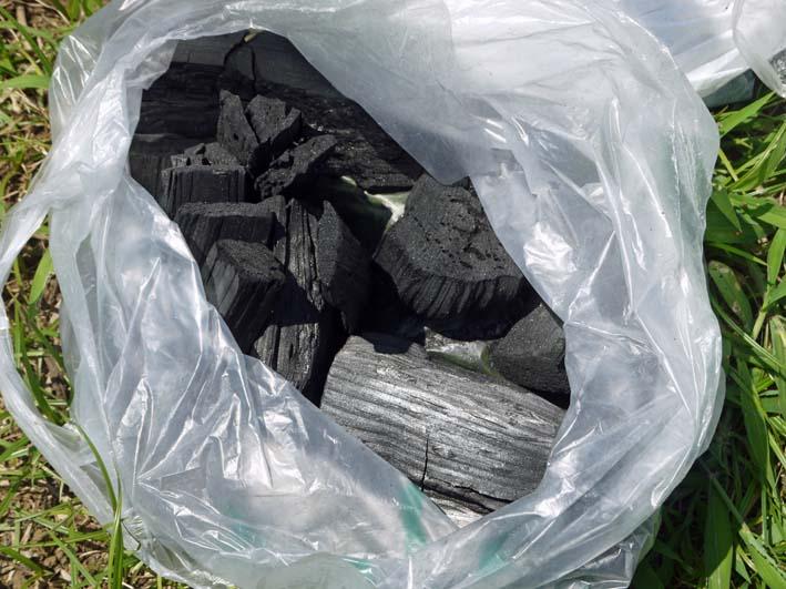 鎌倉だいこん栽培予定地に六国見山間伐材使用の炭撒き_c0014967_10125472.jpg