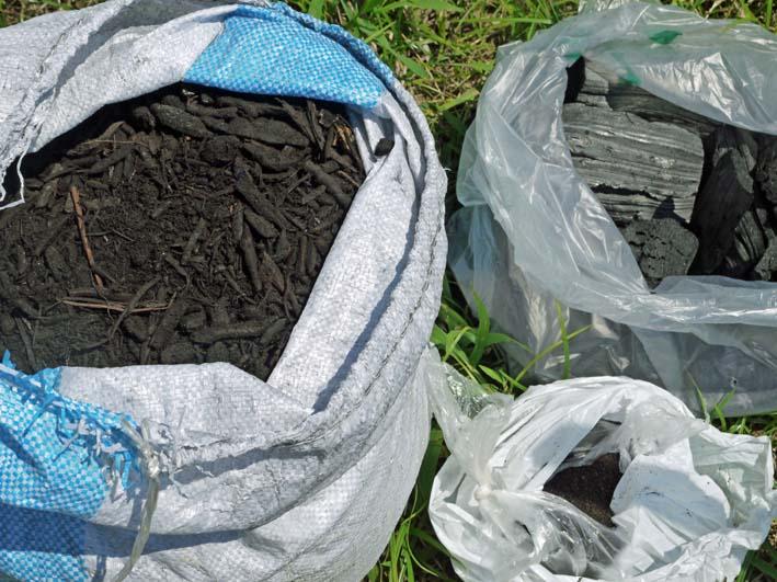 鎌倉だいこん栽培予定地に六国見山間伐材使用の炭撒き_c0014967_1446841.jpg