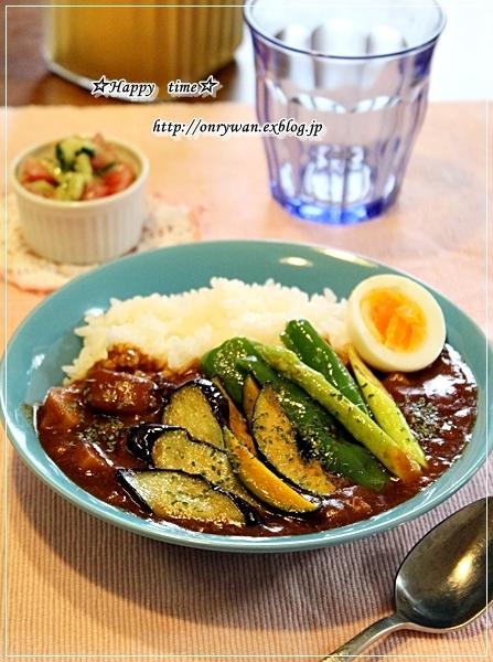 アスパラの肉巻き弁当と夏野菜カレーランチ♪_f0348032_17513615.jpg
