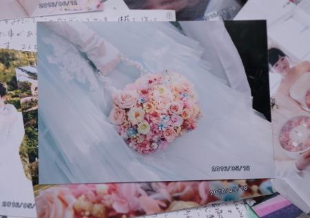 新郎新婦様からのメール 熊本の花嫁様より、シンデレラのドレスにあわせるバッグブーケ_a0042928_12331948.jpg